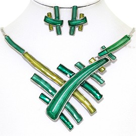 Necklace Earring Set Multi Colored Lines Green FNE370