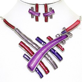 Necklace Earring Set Multi Colored Lines Purple Red Gray FNE372