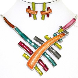 Necklace Earring Set Multi Colored Lines Yellow Orange FNE374