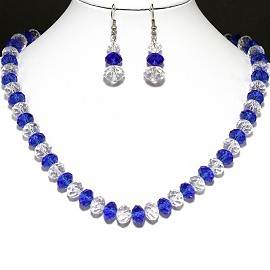 10mm Crystal Set Necklace + Earrings Blue Clear FNE377
