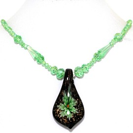 Glass Pendant Crystal Necklace Flower Spoon Green Black FNE378