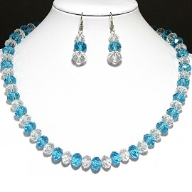 10mm Crystal Set Necklace + Earrings Teal Clear FNE379