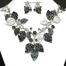 "20"" Necklace Earring Set Leaf Leaves Black Silver White FNE380"