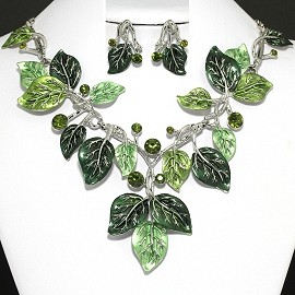 "20"" Necklace Earring set Green Leaf FNE381"