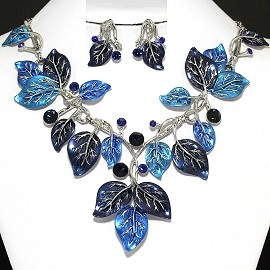 "20"" Necklace Earring set Blue Leaf FNE382"