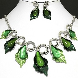 "20"" Necklace Earring Set Green Leaf FNE387"