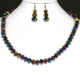 10mm Crystal Necklace Earrings Set MagneticEnd Aura B. FNE391