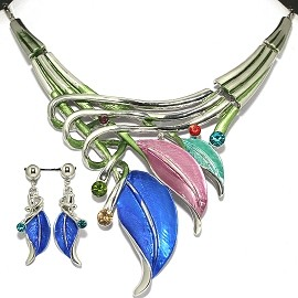 "20""Necklace Earring Set Color Leaf FNE397"