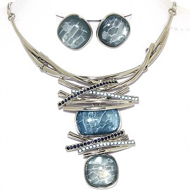 Necklace Earring Set Gems Rhinestones Silver Tone Blue FNE405