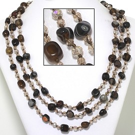 "22"" Necklace 3-Strings Crystal Stone Beads Dark Brown Tan FNE407"
