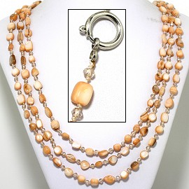 "22"" Necklace 3-Strings Crystal Stone Beads Tan White FNE411"