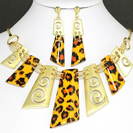 Necklace Earring Set Rectangle Gold Orange Black FNE416