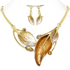 Necklace Earring Set Leaf Leaves Gold Tone Brown Tan FNE417