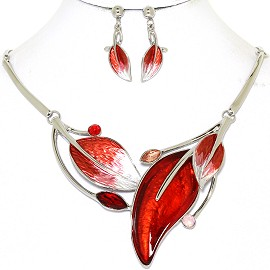 Necklace Earring Set Leaf Leaves Silver Tone Red FNE418