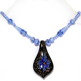 Glass Pendant Crystal Necklace Flower Spoon Blue Black FNE421