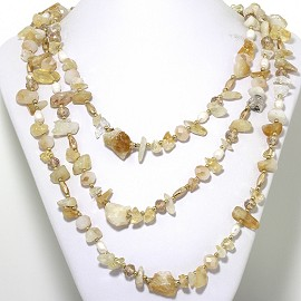 "20"" Necklace 3-Strings Crystal Stone Beads Gold Tan White FNE422"