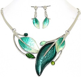 Necklace Earring Set Leaf Leaves Silver Tone Teal FNE424