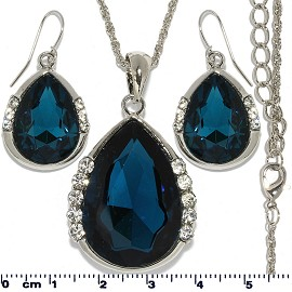 Necklace Earring Set Chain Tear Crystal Gem Silver D Blue FNE425