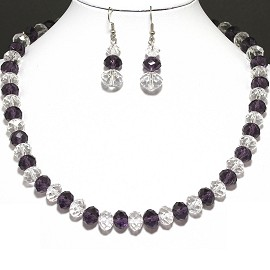 10mm Crystal Necklace Earring Set AB Clear Purple FNE430