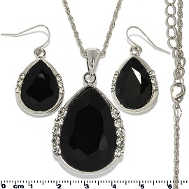 Necklace Earring Set Chain Tear Crystal Gem Silver Black FNE431