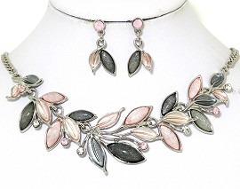 Necklace Earring Set Vine Leaves Multi Color Gray Pink FNE433