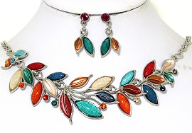 Necklace Earring Set Vine Leaves Multi Color Teal Orange FNE435