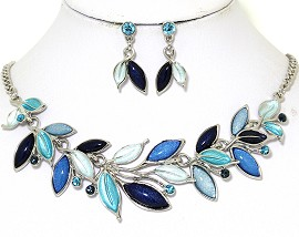 Necklace Earring Set Vine Leaves Multi Color Blue FNE436