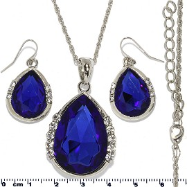 Necklace Earring Set Chain Tear Crystal Gem Silver Blue FNE439