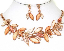 Necklace Earring Set Vine Leaves Multi Color Peach Orange FNE443