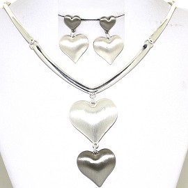 Necklace Earring Set Shiny Hearts Silver Tone Gray FNE446