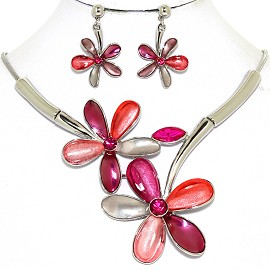 Necklace Earring Set Large Flower Multi Color Magenta FNE453