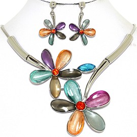 Necklace Earring Set Large Flower Multi Color Silver Tone FNE454
