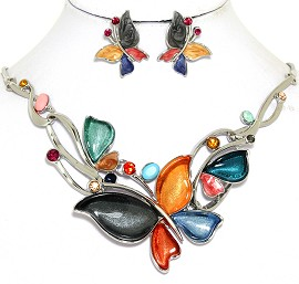 Necklace Earring Set Butterfly Rhinestones Multi Color FNE460