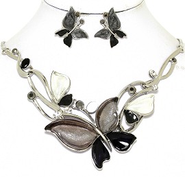 Necklace Earring Set Butterfly Rhinestones Black Gray FNE461