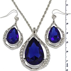 Necklace Earring Crystal Rhinestone Set Tear Blue FNE466