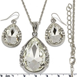 Necklace Earring Set Chain Tear Crystal Gem Silver White FNE468