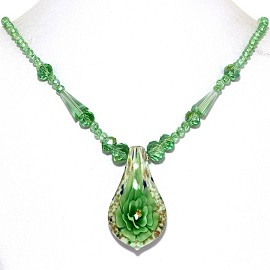 Glass Pendant Crystal Necklace Flower Spoon Green White FNE470