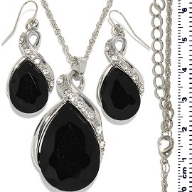 Necklace Earring Set Chain Tear Crystal Gem Silver Black FNE474