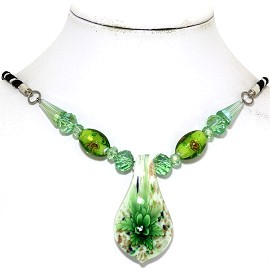 Glass Pendant Crystal Necklace Flower Spoon Green White FNE487