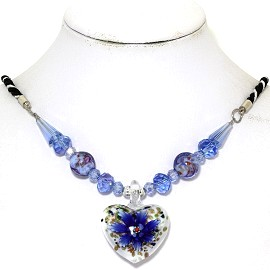 Glass Pendant Crystal Necklace Flower Heart White Blue FNE493