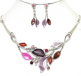 Necklace Earring Set Leaf Leaves Silver Tone Purple Red FNE498