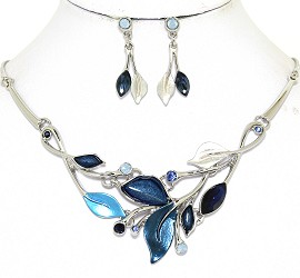 Necklace Earring Set Leaf Leaves Silver Tone Dark Blue FNE499