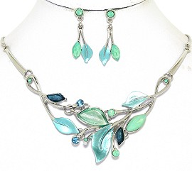 Necklace Earring Set Leaf Leaves Silver Tone Turquoise FNE500
