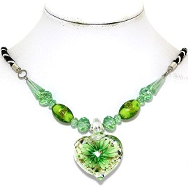 Glass Pendant Crystal Necklace Flower Heart White Green FNE501