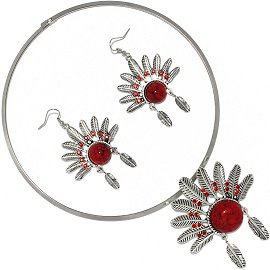Solid Choker Necklace Earring Set Hat Silver Red FNE506