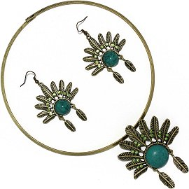 Solid Choker Necklace Earring Set Hat Antique Gold Teal FNE511