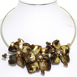 Choker Necklace Mother Of Pearl Dark Brown Tan FNE513