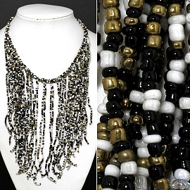 Seed Beads Necklace Black Gold White FNE514