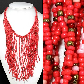 Seed Beads Necklace Peach Gold FNE516