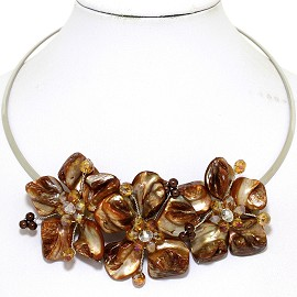 Choker Necklace Mother Of Pearl Brown Cream FNE519